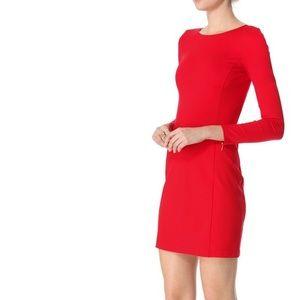 THEORY Kalion Pryor Sheath Bodycon Dress in Red